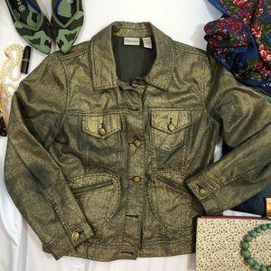 Chicos Gold Metallic jacket size 1 medium H
